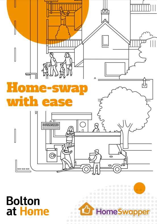 "Image displaying the front cover of our Mutual Exchanges leaflet, which is available to download on this page. It reads ""Home-swap with ease""."